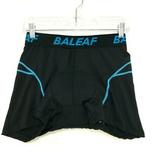 """Baleaf Padded Bicycle Shorts Mens L Large Black Compression Cycle 5"""" Inseam"""