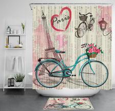 Romantic Travel Paris Eiffel Flower Bicycle Waterproof Fabric Shower Curtain Set