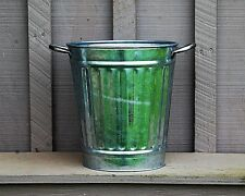 Vintage Galvanized Tin Ribbed Bucket Planter Looped Handles Farm Tool Barn Decor