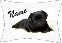 Personalised Cute Black Pug Pillow Case add a Name GREAT GIFT