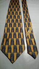 Ermenegildo Zegna Men's Vintage Silk Tie in a Blue and Gold Geometric Pattern