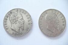 DUO  MONNAIES  ARGENT ÉCU 5 LIRE ITALIE 1869 + 1870   - Lot 3 -  !!(10/16)