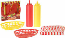 Burger Chip Basket Condiment Serving Set Food Presentation Basket Kethcup Bottle