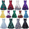 Vintage Womens 50s Swing Floral Sleeveless Evening Party Rockabilly Retro Dress