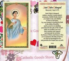 San Pedro Calungsod with Prayer to St Pedro - Laminated  Holy Card