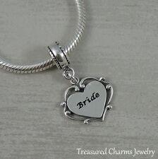925 Sterling Silver Bride Heart Dangle Bead Charm - fits European Bracelets NEW