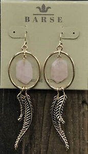 Barse Paradiso Earrings- Rose Quartz- Bronze- NWT