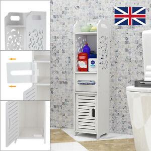 White Wooden Bathroom Shelf Cabinet Cupboard Bedroom Storage Unit Standing UK