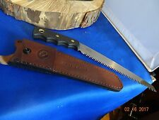 """KNIVES OF ALASKA 111FG WOOD SAW 13"""" OVERALL SK5 BLADE WITH LEATHER SHEATH"""