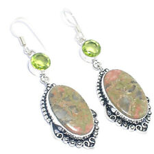 Gemstone Silver Jewelry Earring 1.75'' Unakite Jasper Peridot Quartz Ethnic