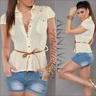 WOMENS SHIRT belt SHORT SLEEVE BLOUSE LADIES casual TOP V NECK loose summer SEXY