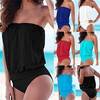 Damen Einteiler Bikini Bademode Monokini Badeanzug Beachwear Trägerlos Bodysuit