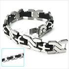 """New Men Silver Cross Stainless Steel Black Rubber Bracelet Bangle Wristband 8.5"""""""