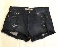 The Laundry Room Shorts, 28, Black Gray Destroyed High Rise Denim