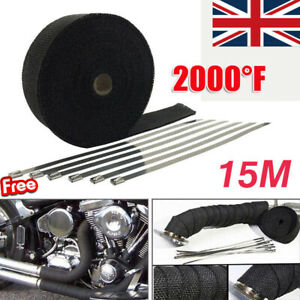 15M Black Exhaust Heat Wrap Manifold Downpipe High Temp Bandage Tape Roll +TIES