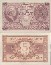 LUOGOTENENZA 5 LIRE ATENA ELMATA DEC.23/11/1944  F.D.S. A.