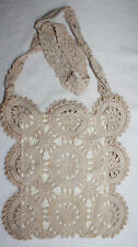 ECRU CROCHET LACE PURSE LINED WITH YELLOW SATIN & WITH LONG STRAP