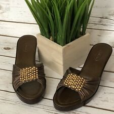 TALBOTS Shoes Womens 8.5B Bronze NEW NWOB Leather Beaded Heels Slides