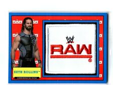 WWE Seth Rollins 2017 Topps Heritage Blue Raw Com Patch Relic Card SN 33 of 50