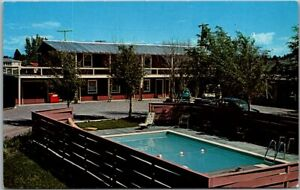 Kalispell, Montana Postcard SAN-ROSE MOTEL Pool View Highway 2 Roadside 1950s