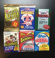 Lot of 6 Baseball Card Wax Packs 80's 90's HOF Rookies Topps Fleer Score