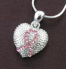 Breast Cancer Awareness Pink Ribbon Rhinestone Necklace