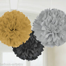 3 Hollywood Party Black Gold Silver Hanging Fluffy Paper Ruffle Ball Decorations