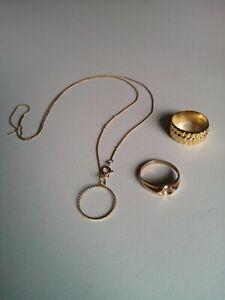 Gold Schmuck Ring Kette Anhänger Herren Damen echt schick Ringe Konvolut Unisex