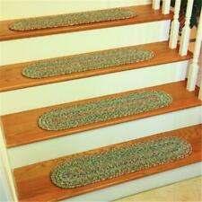 Rhody Rug SO65A008X028-4 Sophia Multi Braided Stair Tread Moss Green - Set Of 4