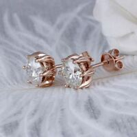4Ct Round Cut VVS1/D Diamond Solitaire Stud Earring Solid 14K Rose Gold Finish