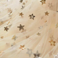 Sparkling Stars Lace Fabric by yard Sequined Starry Tulle for Galaxy Costumes