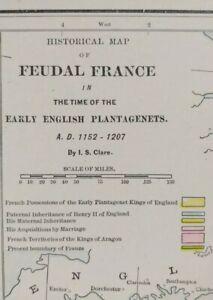 Vintage 1900 FEUDAL FRANCE Map 1152-1207AD ~ Old Antique ENGLISH PLANTAGENETS