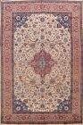 Excellent Floral Nain Area Rug Traditional IVORY 8x11 Hand-knotted Wool Carpet