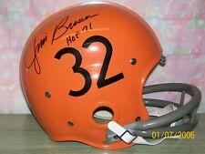 "JIM BROWN SIGNED CUSTOM T/B CLEVELAND BROWNS""RK"" 2BAR HELMET RARE!"