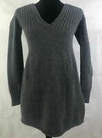 Old Navy Gray V Neck Hooded Ribbed Chunky Cable Knit  Pockets Sweater Womens XS