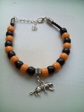 tiger charm & bead bracelet