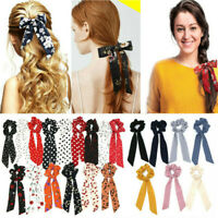 Lady Boho Print Long Ribbon Bow Scarf Hair Rope Ring Elastic Ponytail Scrunchies