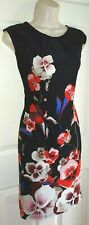 WALLIS Black Red Blue Poppy Evening Cocktail Party Shift LBD Tunic Dress Size 16