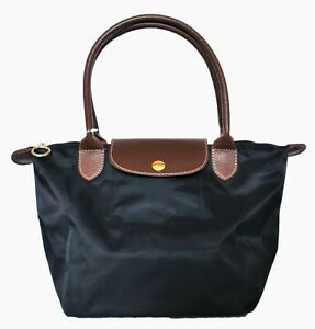 Womens Girls Nylon Tote Shopper School Foldable Bag Size Medium Black