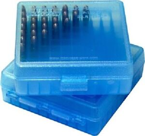 22 LR / 25 ACP Ammo Box Clear Blue 100 Round (Quantity 1) Buy 5 Get 1 Free (MTM)