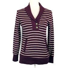 Banana Republic Shawl Button Collar Striped Sweater Eggplant Women's Size XS