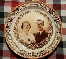 """8.5"""" VTG Dutch Plate Charger Royal Engagement Juliana Bernard 1936 Mosa Plateel"""