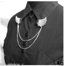 Occident Style Retro Metal Heart Wings Shirt Collar Chain Tip Pin Brooch SILVER