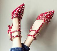 Womens Rivet Med Heels Pointed Toe T-strap Buckle Slingbacks Sandals Shoes C949