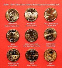 2009 - 2017 Mint Roll Sacagawea Native American 9 Coin BU Uncirculated Set