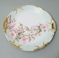 "Limoges France Martial Redon Mark #2 Pink Flowers 10"" Plate Gold CA 1891-1896"