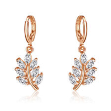 Olive Branch Natural White Fire Topaz Gems Yellow Gold Plated Dangle Earrings