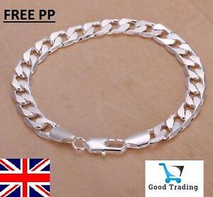 STUNNING Mens, unisex 925 Sterling Silver Filled 8mm Curb chain bracelet, UK
