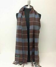 CASHMERE SCARF Plaid Check Dark Brown Gray SCOTLAND Wool Wrap⭐️⭐️⭐️⭐️⭐️(30)