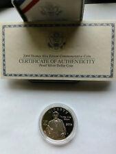 2004-P SILVER Proof THOMAS ALVA EDISON 125th Light Bulb Dollar $1 Coin USA READ